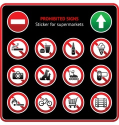 Prohibited signs sticky label for supermarkets vector