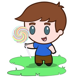Little boy and his candy vector