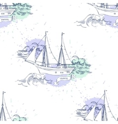 Seamless pattern with ships vector