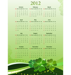 2012 calendar for st patricks vector image