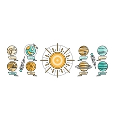 Solar system icon flat design style vector