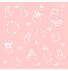 Baby girl elements pink background vector