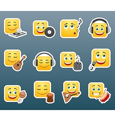 Music smile stickers set vector image