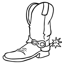 Black and white cowboy boot vector