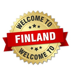 Finland 3d gold badge with red ribbon vector