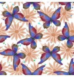 Butterflies and Flowers Low Poly Pattern vector image