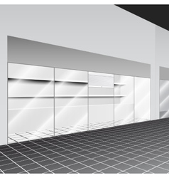Shop with stand and shelves in the corridor vector