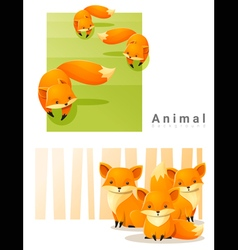Animal background with foxes 2 vector