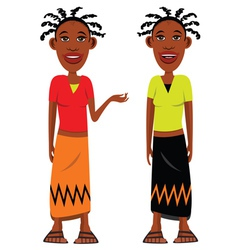 African village girls vector image
