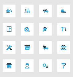 Architecture colorful icons set with dozer paint vector