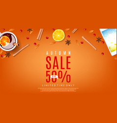 Autumn sale orange web banner vector