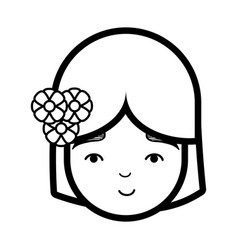 Beauty face girl with flowers in the head vector