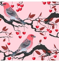 Birds and cherry tree seamless vector