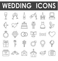 black line wedding icons vector image