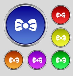 Bow tie icon sign round symbol on bright colourful vector