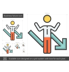 Business failure line icon vector