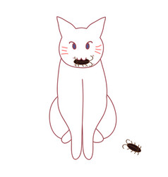 Cat hunting cockroach vector