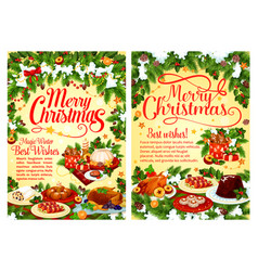 Christmas party festive dinner dish greeting card vector