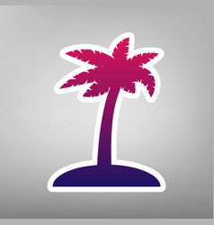 Coconut palm tree sign purple gradient vector
