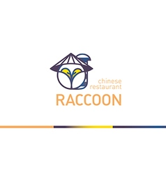 Creative line logo with gradient funny raccoon vector