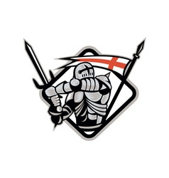 English knight fighting sword england flag retro vector