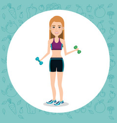 Female athlete weight lifting vector