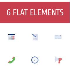 Flat icons envelope loudspeaker calendar and vector