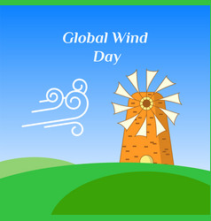 Greeting card of global wind day vector