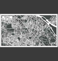 Kanpur india city map in retro style outline map vector