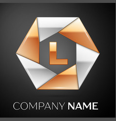 letter l logo symbol in the colorful hexagon on vector image