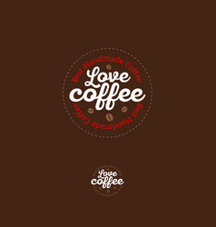love coffee bean logo coffee emblem vector image
