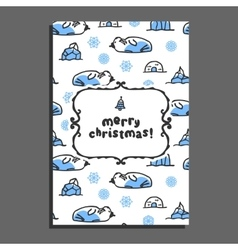 Merry christmas greeting card with cute cartoon vector