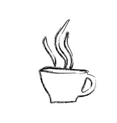 Monochrome sketch hand drawn of hot coffee cup vector