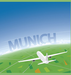 Munich flight destination vector