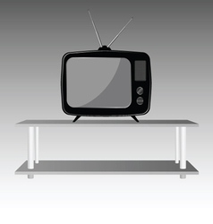 Old tv on shelve vector