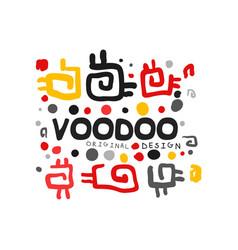 Ornamental kid s style drawing voodoo magic logo vector