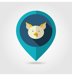 Pig flat pin map icon animal head vector