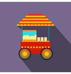 Popcorn cart flat icon vector