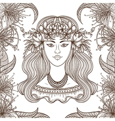 portrait of gypsy woman with flowers vector image vector image