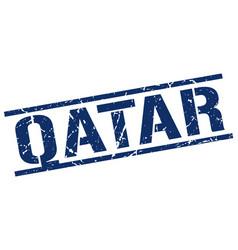 Qatar blue square stamp vector
