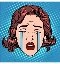 Retro emoji tears crying sorrow woman face vector