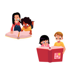 set of kids children reading thick book together vector image vector image