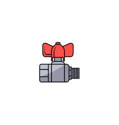 sketch water valve with fitting vector image