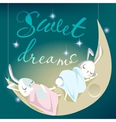 Sleeping white bunny kids - card vector