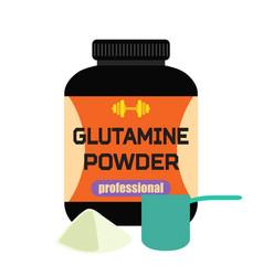 Sports nutrition glutamine powder professional vector