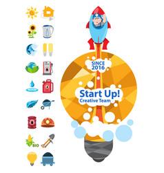 Start up creative team energetics start up with vector
