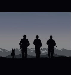 three border guards with a dog on the border vector image