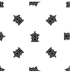 traditional korean pagoda pattern seamless black vector image