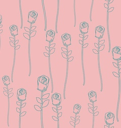 Vintage roses on pink background seamless pattern vector image