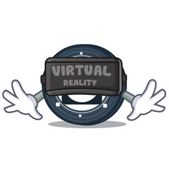 With virtual reality byteball bytes coin mascot vector